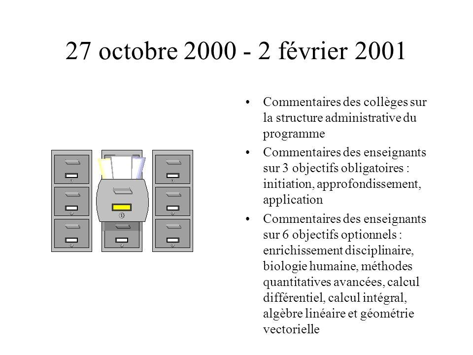 27 octobre 2000 - 2 février 2001 Commentaires des collèges sur la structure administrative du programme Commentaires des enseignants sur 3 objectifs o