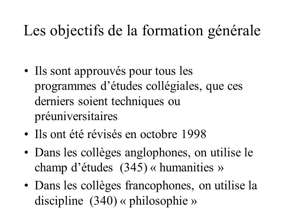 Les objectifs de la formation générale Ils sont approuvés pour tous les programmes d'études collégiales, que ces derniers soient techniques ou préuniversitaires Ils ont été révisés en octobre 1998 Dans les collèges anglophones, on utilise le champ d'études (345) « humanities » Dans les collèges francophones, on utilise la discipline (340) « philosophie »