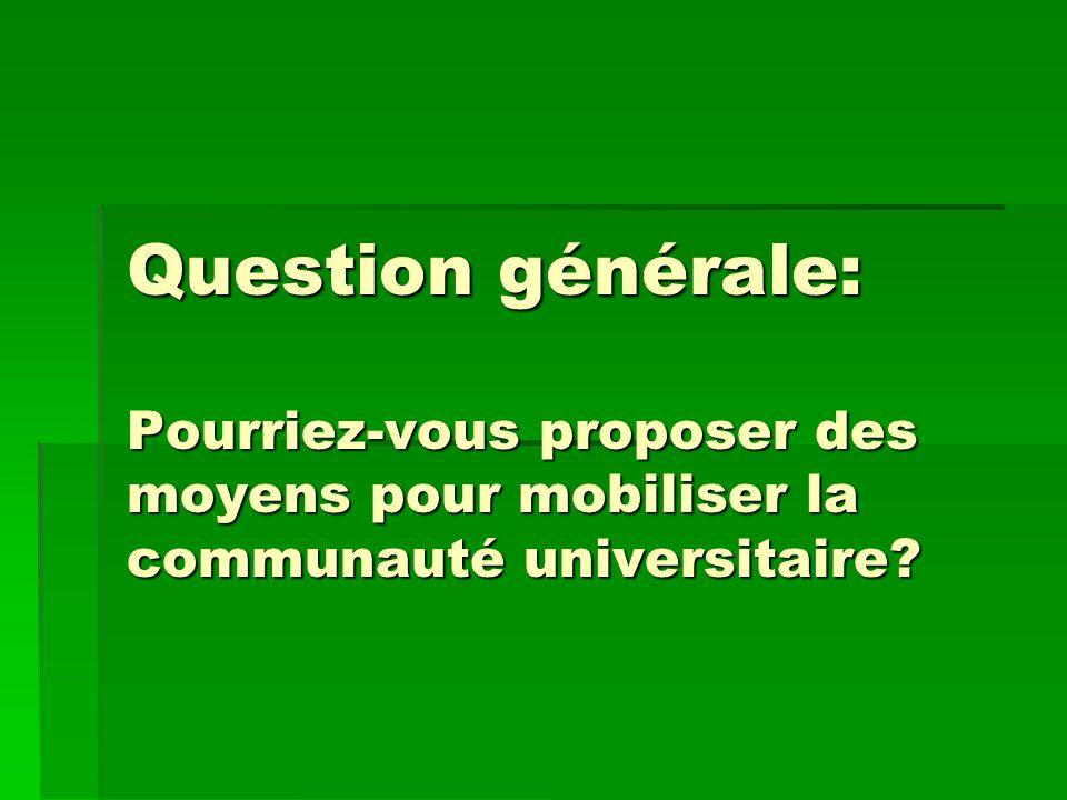 Question générale: Pourriez-vous proposer des moyens pour mobiliser la communauté universitaire