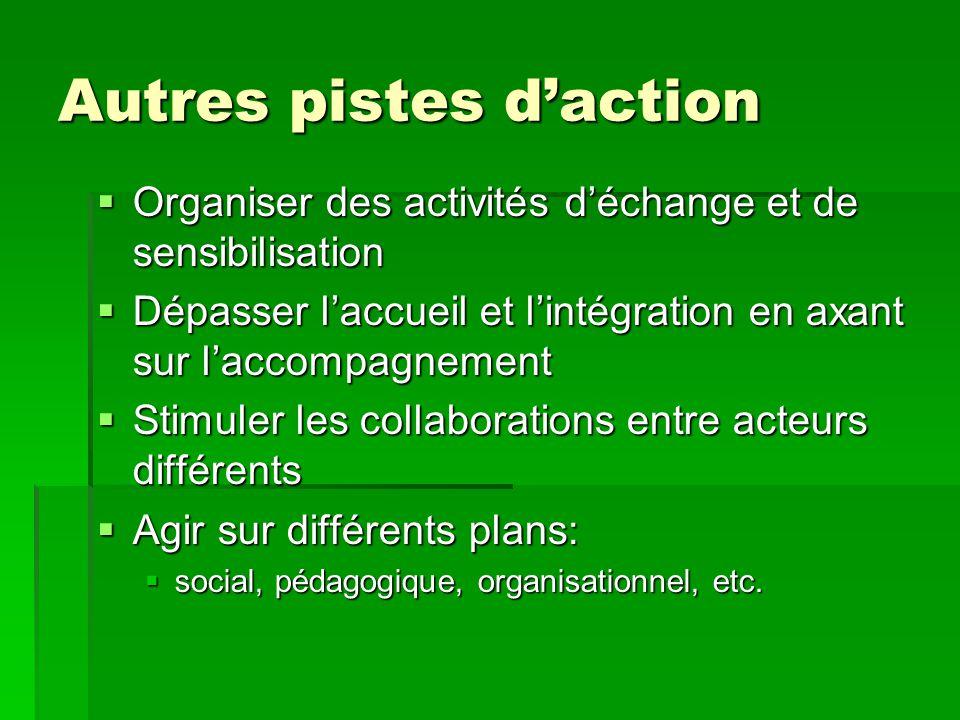 Autres pistes d'action  Organiser des activités d'échange et de sensibilisation  Dépasser l'accueil et l'intégration en axant sur l'accompagnement  Stimuler les collaborations entre acteurs différents  Agir sur différents plans:  social, pédagogique, organisationnel, etc.