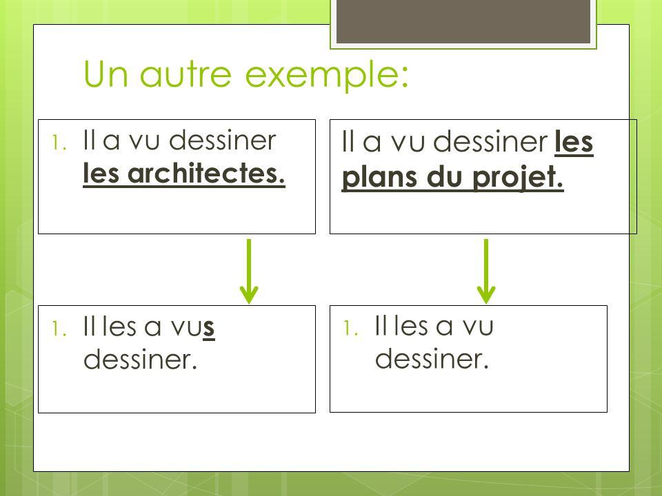 Un autre exemple: 1. Il a vu dessiner les architectes.