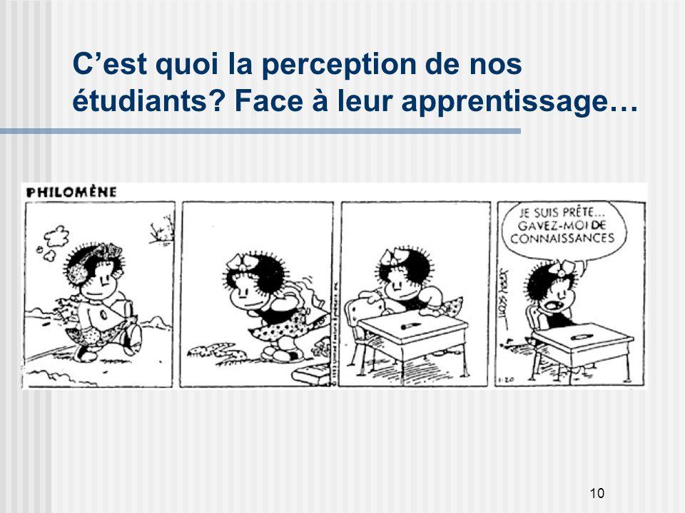 10 C'est quoi la perception de nos étudiants? Face à leur apprentissage…