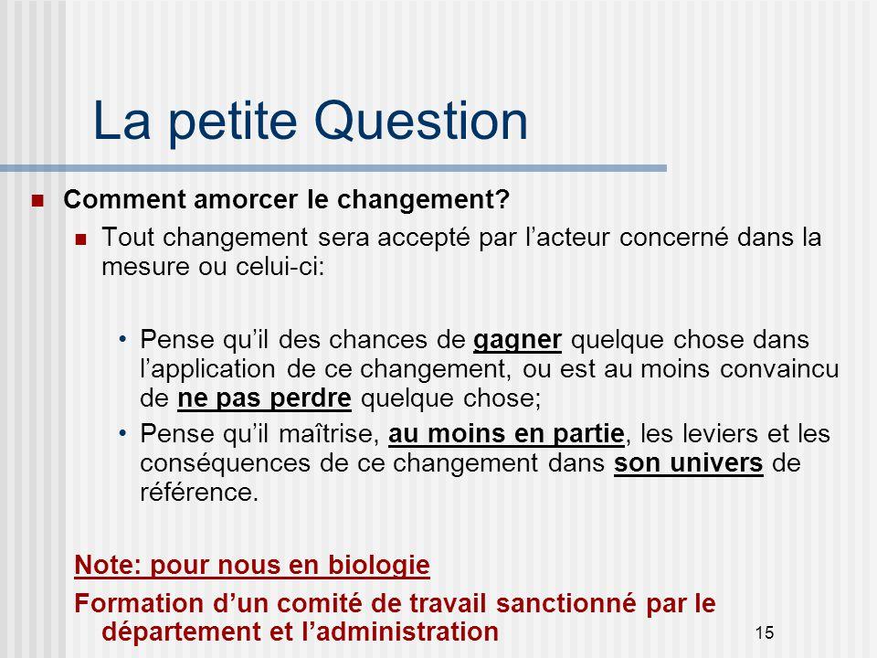 15 La petite Question Comment amorcer le changement? Tout changement sera accepté par l'acteur concerné dans la mesure ou celui-ci: Pense qu'il des ch
