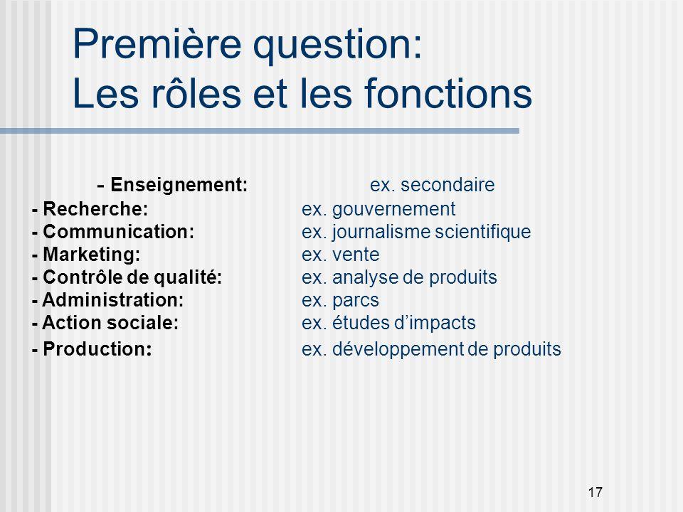 17 Première question: Les rôles et les fonctions - Enseignement: ex. secondaire - Recherche: ex. gouvernement - Communication: ex. journalisme scienti