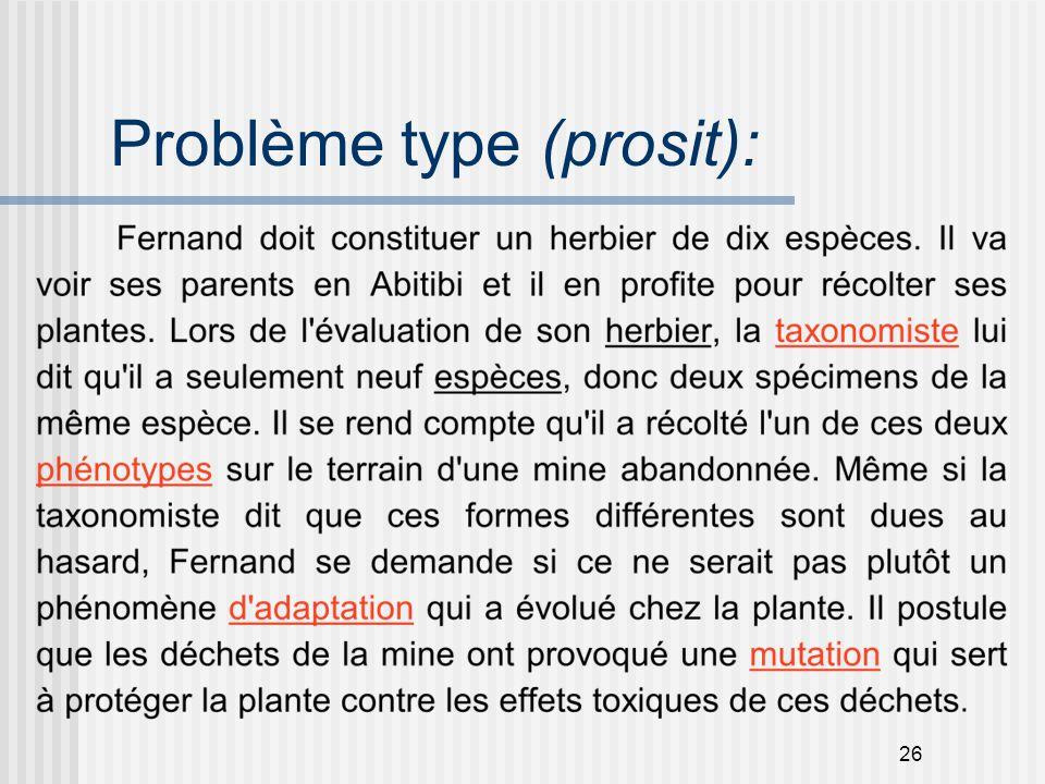 26 Problème type (prosit):