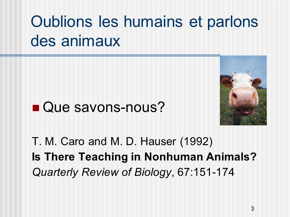 3 Oublions les humains et parlons des animaux Que savons-nous? T. M. Caro and M. D. Hauser (1992) Is There Teaching in Nonhuman Animals? Quarterly Rev
