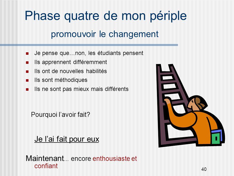 40 Phase quatre de mon périple promouvoir le changement Je pense que…non, les étudiants pensent Ils apprennent différemment Ils ont de nouvelles habil