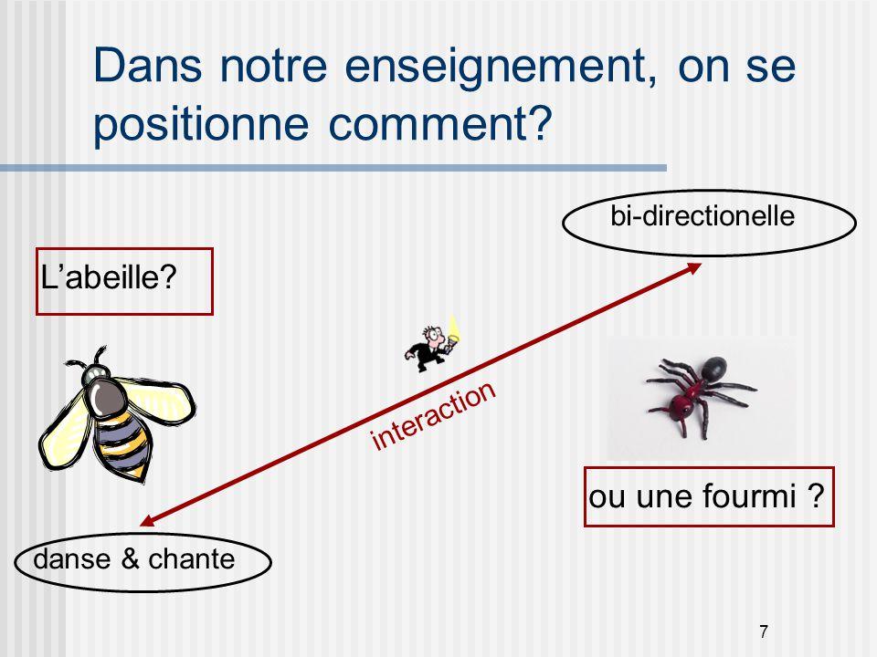 7 Dans notre enseignement, on se positionne comment? L'abeille? ou une fourmi ? interaction bi-directionelle danse & chante