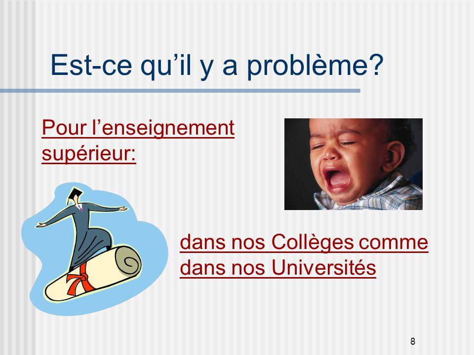 8 Est-ce qu'il y a problème? dans nos Collèges comme dans nos Universités Pour l'enseignement supérieur: