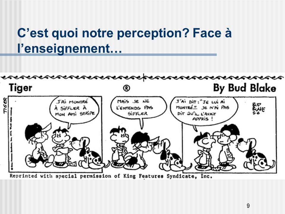 9 C'est quoi notre perception? Face à l'enseignement…
