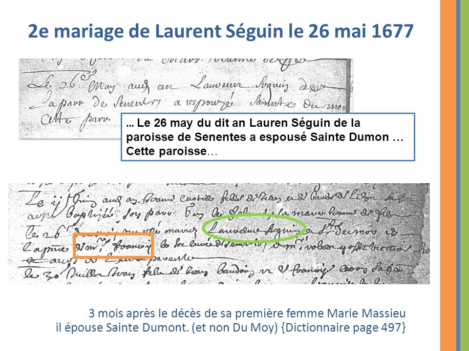 3 mois après le décès de sa première femme Marie Massieu il épouse Sainte Dumont. (et non Du Moy) {Dictionnaire page 497} 2e mariage de Laurent Séguin