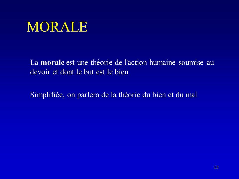 MORALE La morale est une théorie de l action humaine soumise au devoir et dont le but est le bien Simplifiée, on parlera de la théorie du bien et du mal 15