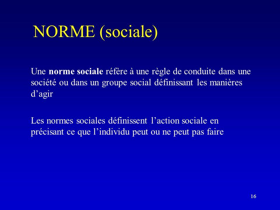 NORME (sociale) Une norme sociale réfère à une règle de conduite dans une société ou dans un groupe social définissant les manières d'agir Les normes sociales définissent l'action sociale en précisant ce que l'individu peut ou ne peut pas faire 16