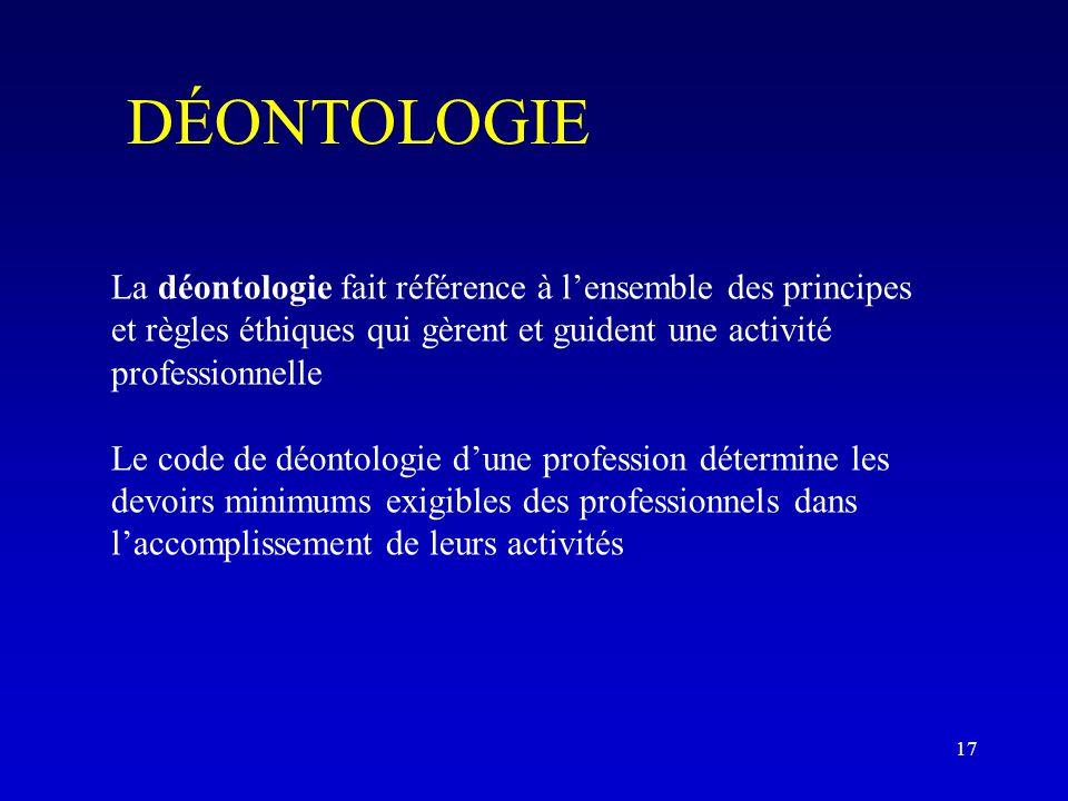 DÉONTOLOGIE La déontologie fait référence à l'ensemble des principes et règles éthiques qui gèrent et guident une activité professionnelle Le code de