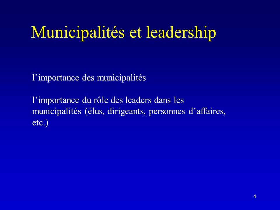 Municipalités et leadership l'importance des municipalités l'importance du rôle des leaders dans les municipalités (élus, dirigeants, personnes d'affa