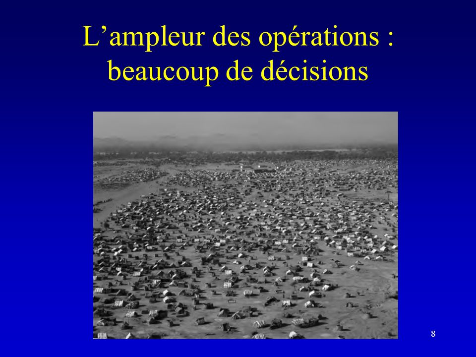L'ampleur des opérations : beaucoup de décisions 8