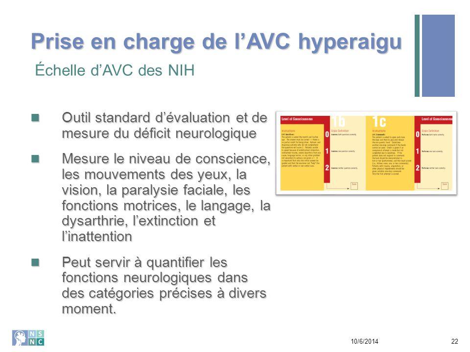 Prise en charge de l'AVC hyperaigu Échelle de l'AVC des NIH 10/6/201423 Source: www.ninds.nih.gov EXEMPLE