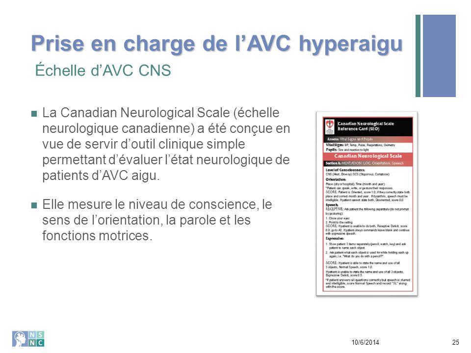 Échelle d'AVC CNS 10/6/201426 EXEMPLE Prise en charge de l'AVC hyperaigu