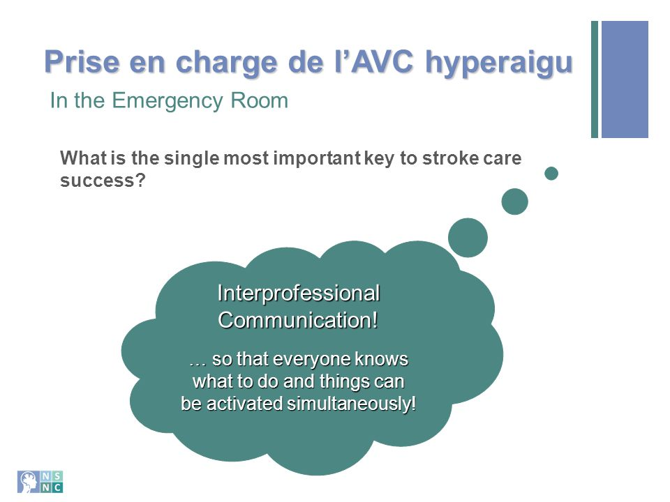What is the single most important key to stroke care success? In the Emergency Room Interprofessional Communication! … so that everyone knows what to