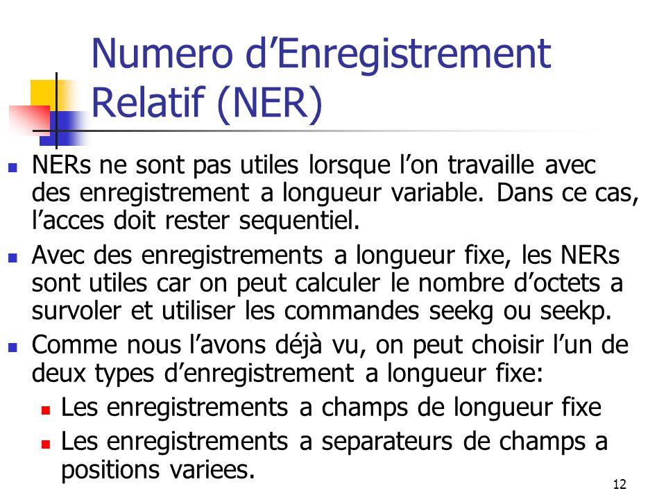 12 Numero d'Enregistrement Relatif (NER) NERs ne sont pas utiles lorsque l'on travaille avec des enregistrement a longueur variable.