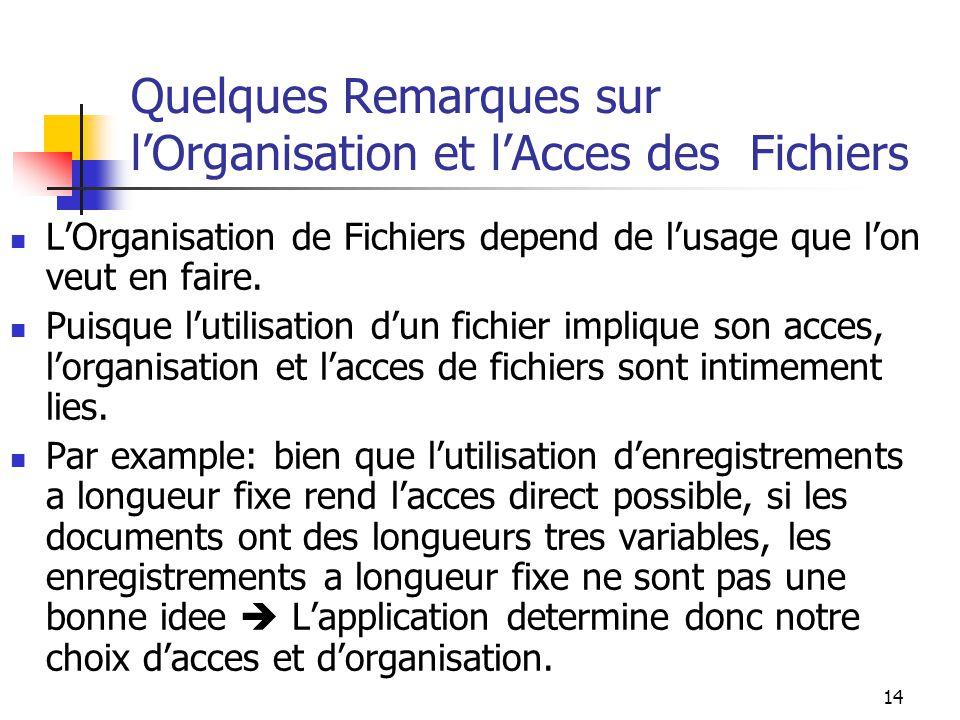 14 Quelques Remarques sur l'Organisation et l'Acces des Fichiers L'Organisation de Fichiers depend de l'usage que l'on veut en faire.