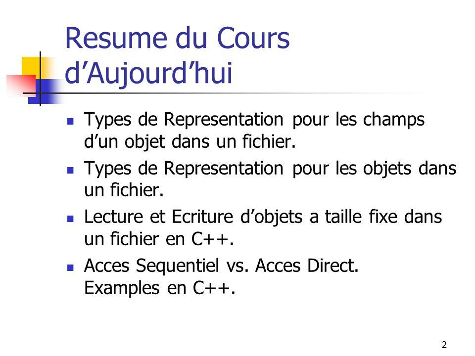 2 Resume du Cours d'Aujourd'hui Types de Representation pour les champs d'un objet dans un fichier.
