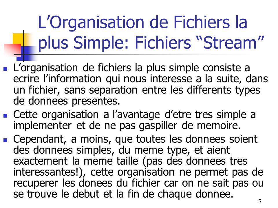 3 L'Organisation de Fichiers la plus Simple: Fichiers Stream L'organisation de fichiers la plus simple consiste a ecrire l'information qui nous interesse a la suite, dans un fichier, sans separation entre les differents types de donnees presentes.