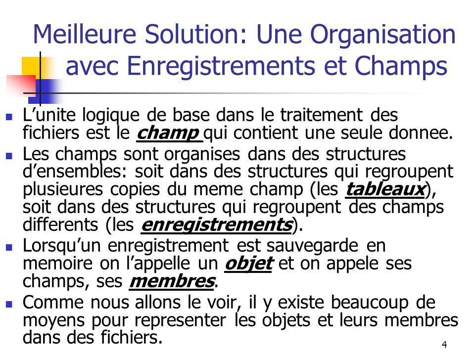 4 Meilleure Solution: Une Organisation avec Enregistrements et Champs L'unite logique de base dans le traitement des fichiers est le champ qui contient une seule donnee.
