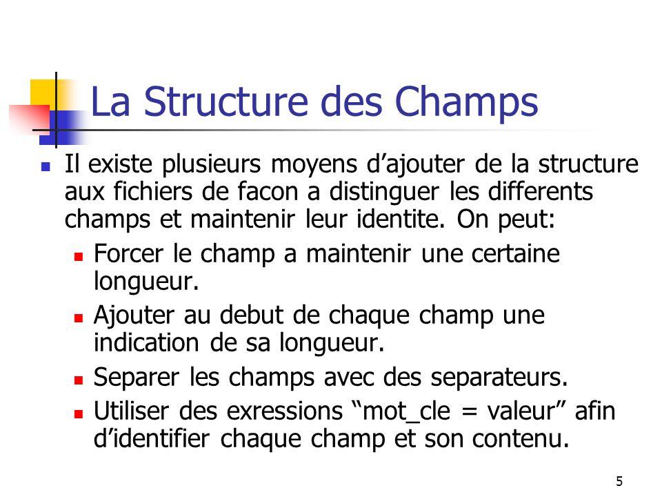 5 La Structure des Champs Il existe plusieurs moyens d'ajouter de la structure aux fichiers de facon a distinguer les differents champs et maintenir leur identite.