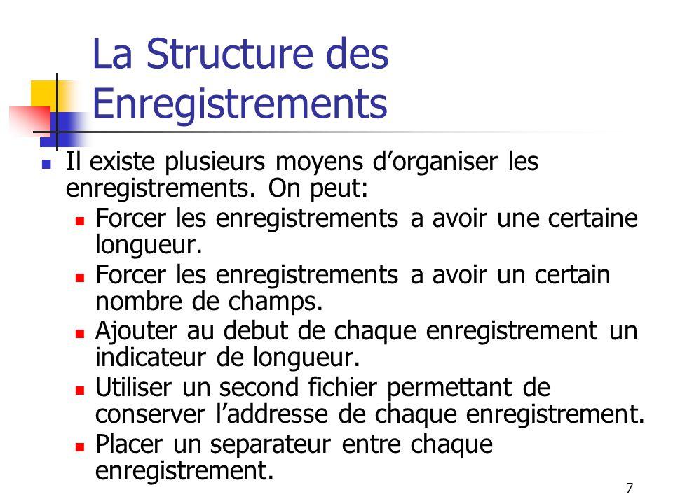 7 La Structure des Enregistrements Il existe plusieurs moyens d'organiser les enregistrements.