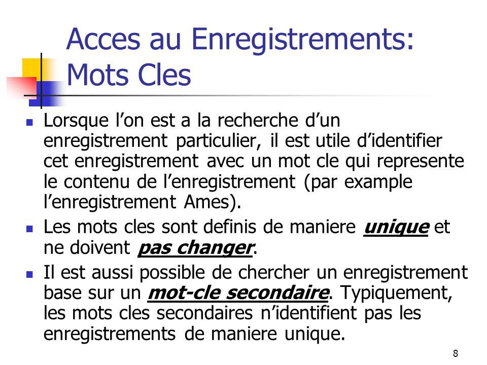 8 Acces au Enregistrements: Mots Cles Lorsque l'on est a la recherche d'un enregistrement particulier, il est utile d'identifier cet enregistrement avec un mot cle qui represente le contenu de l'enregistrement (par example l'enregistrement Ames).