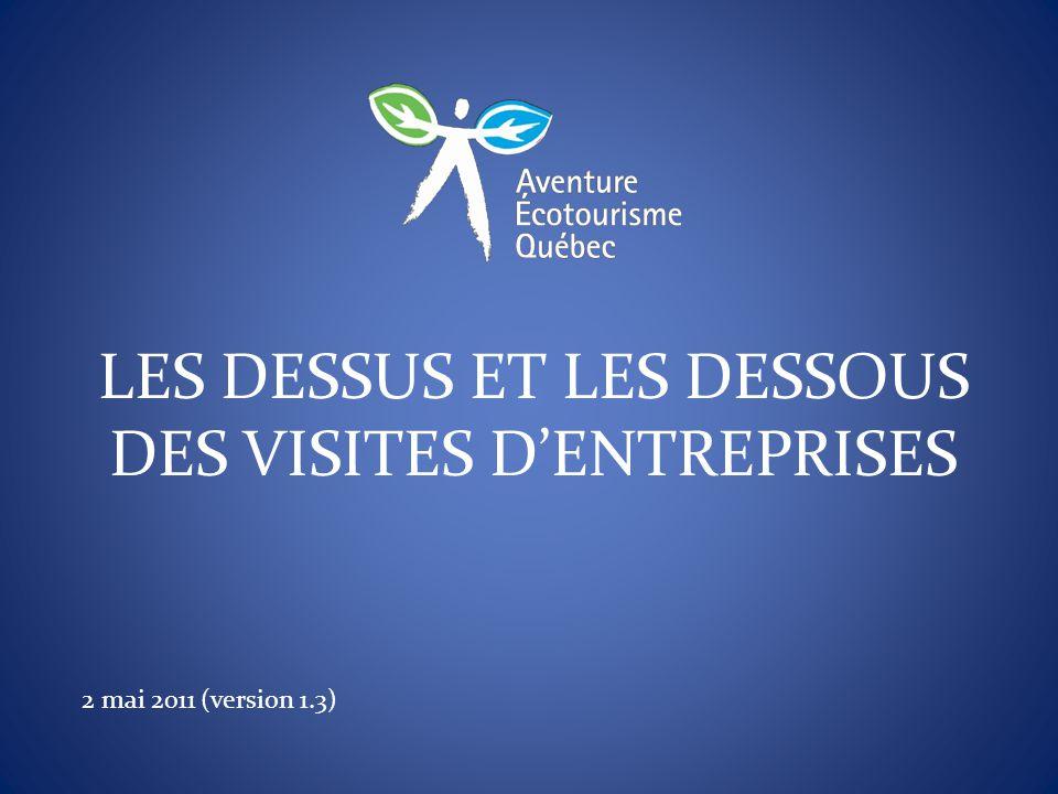 LES DESSUS ET LES DESSOUS DES VISITES D'ENTREPRISES 2 mai 2011 (version 1.3)