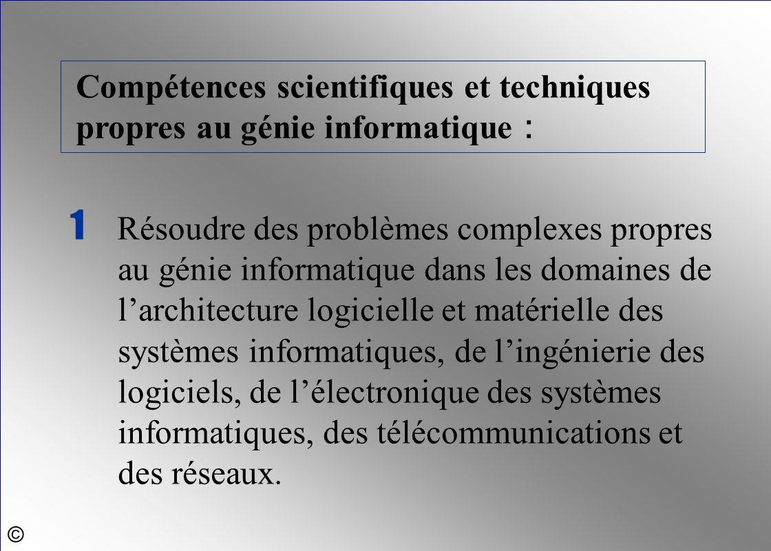 1 Résoudre des problèmes complexes propres au génie informatique dans les domaines de l'architecture logicielle et matérielle des systèmes informatiqu