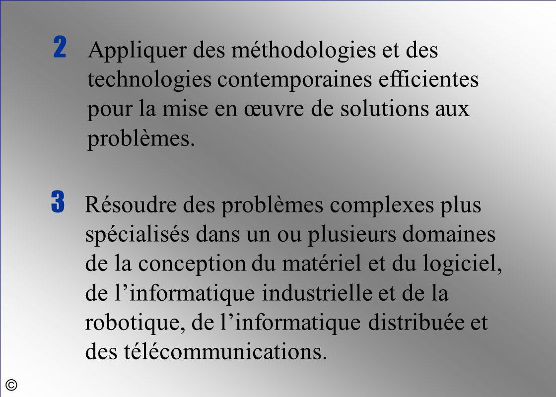 3 Résoudre des problèmes complexes plus spécialisés dans un ou plusieurs domaines de la conception du matériel et du logiciel, de l'informatique indus