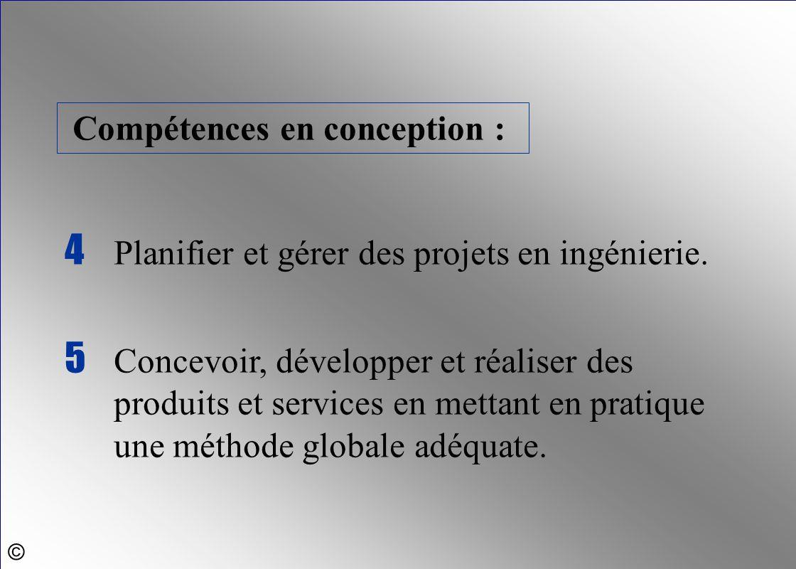 5 Concevoir, développer et réaliser des produits et services en mettant en pratique une méthode globale adéquate. 4 Planifier et gérer des projets en