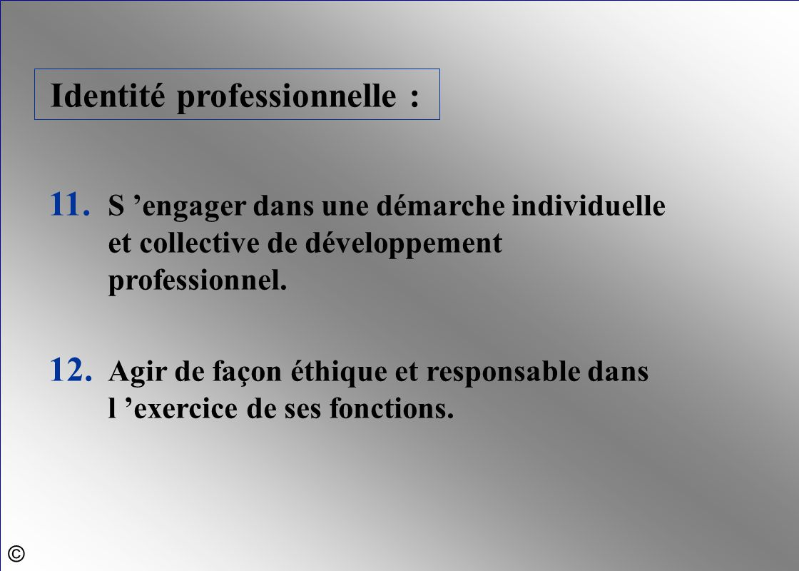 Identité professionnelle : 11. S 'engager dans une démarche individuelle et collective de développement professionnel. 12. Agir de façon éthique et re