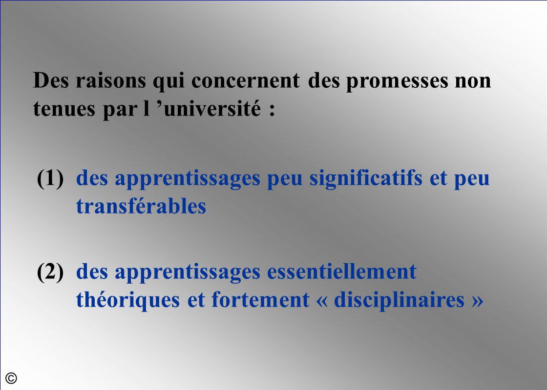 Des raisons qui concernent des promesses non tenues par l 'université : (1)des apprentissages peu significatifs et peu transférables (2)des apprentiss