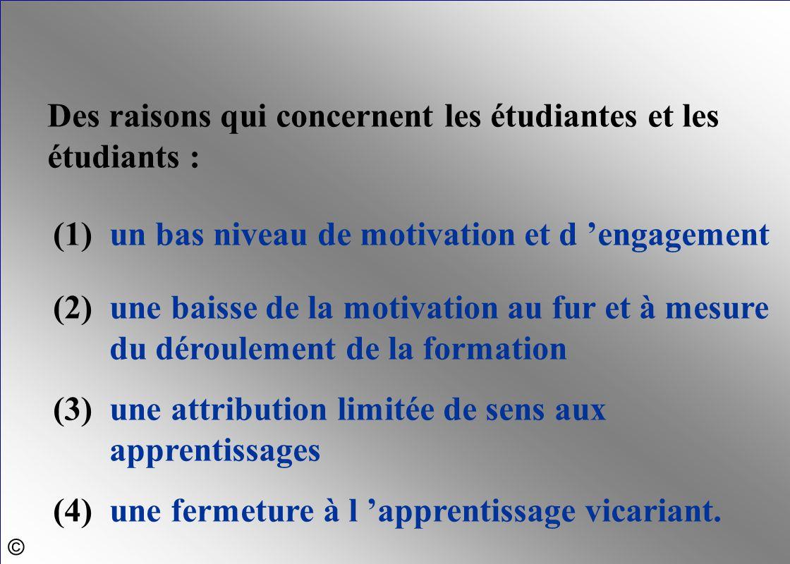 Des raisons qui concernent les étudiantes et les étudiants : (1)un bas niveau de motivation et d 'engagement (2)une baisse de la motivation au fur et