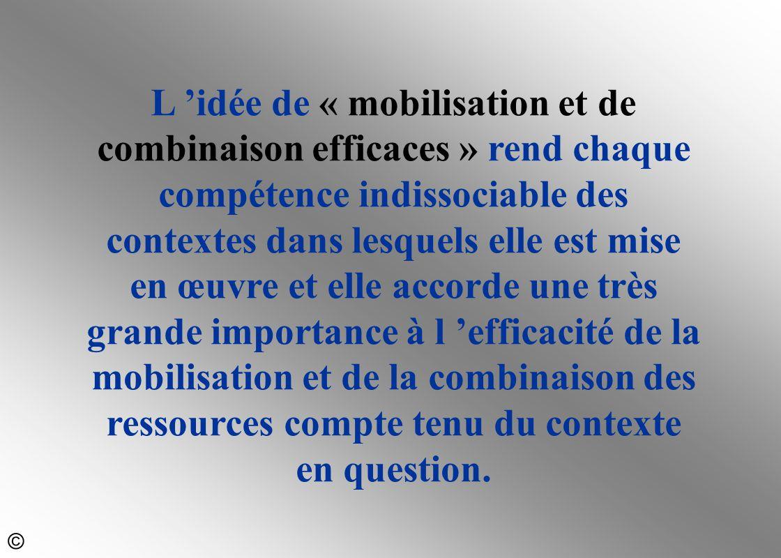 L 'idée de « mobilisation et de combinaison efficaces » rend chaque compétence indissociable des contextes dans lesquels elle est mise en œuvre et ell
