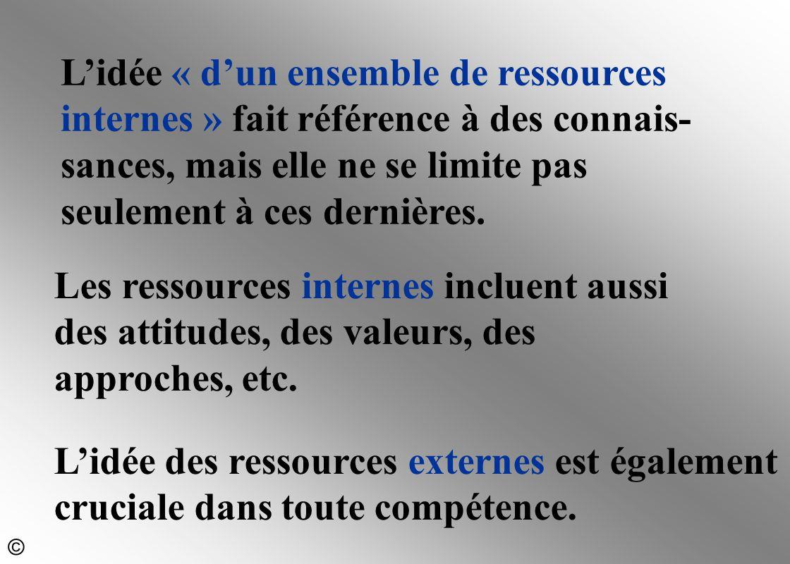 L'idée « d'un ensemble de ressources internes » fait référence à des connais- sances, mais elle ne se limite pas seulement à ces dernières. Les ressou