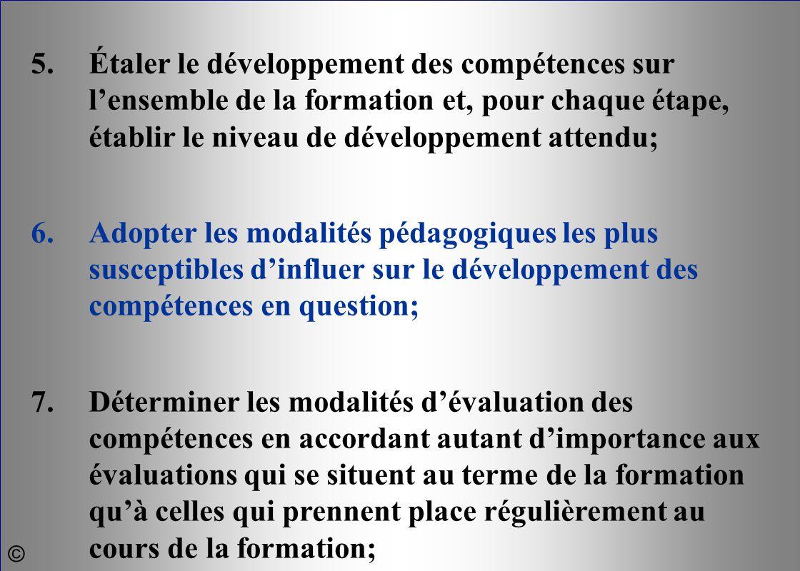 5.Étaler le développement des compétences sur l'ensemble de la formation et, pour chaque étape, établir le niveau de développement attendu; 6.Adopter