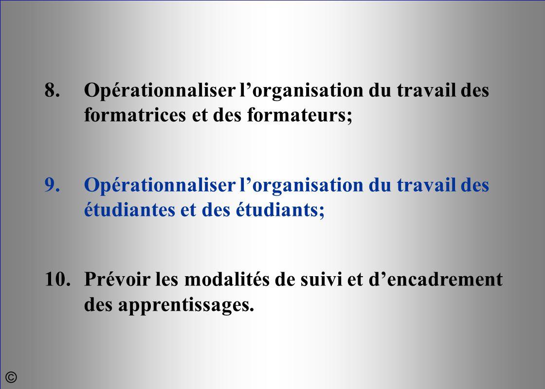8.Opérationnaliser l'organisation du travail des formatrices et des formateurs; 9.Opérationnaliser l'organisation du travail des étudiantes et des étu