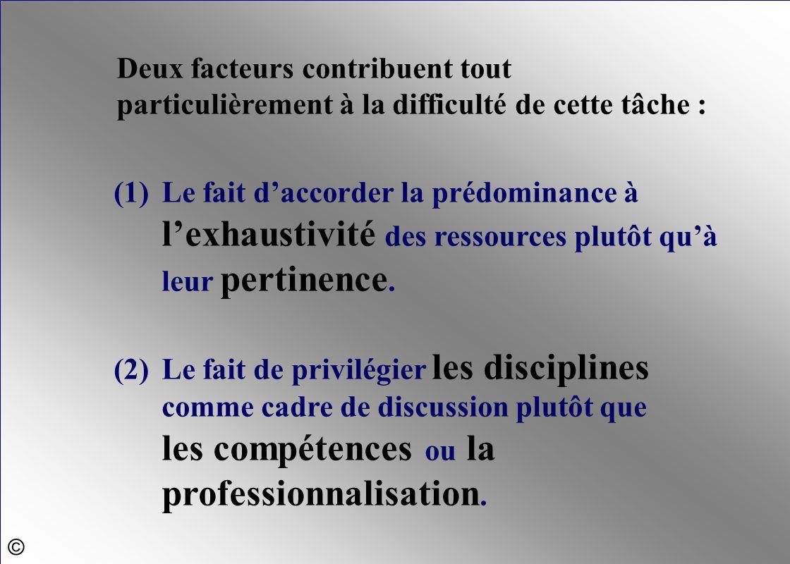 Deux facteurs contribuent tout particulièrement à la difficulté de cette tâche : (1)Le fait d'accorder la prédominance à l'exhaustivité des ressources