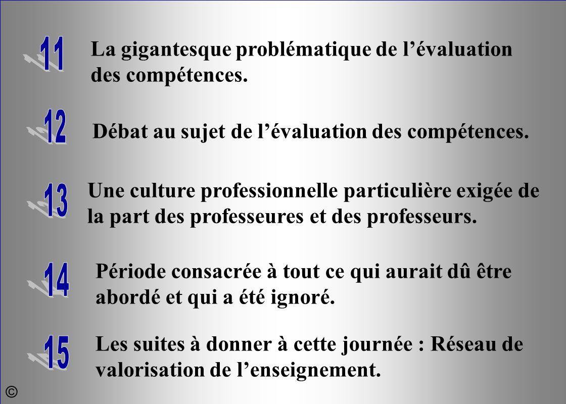 La gigantesque problématique de l'évaluation des compétences. Débat au sujet de l'évaluation des compétences. Une culture professionnelle particulière