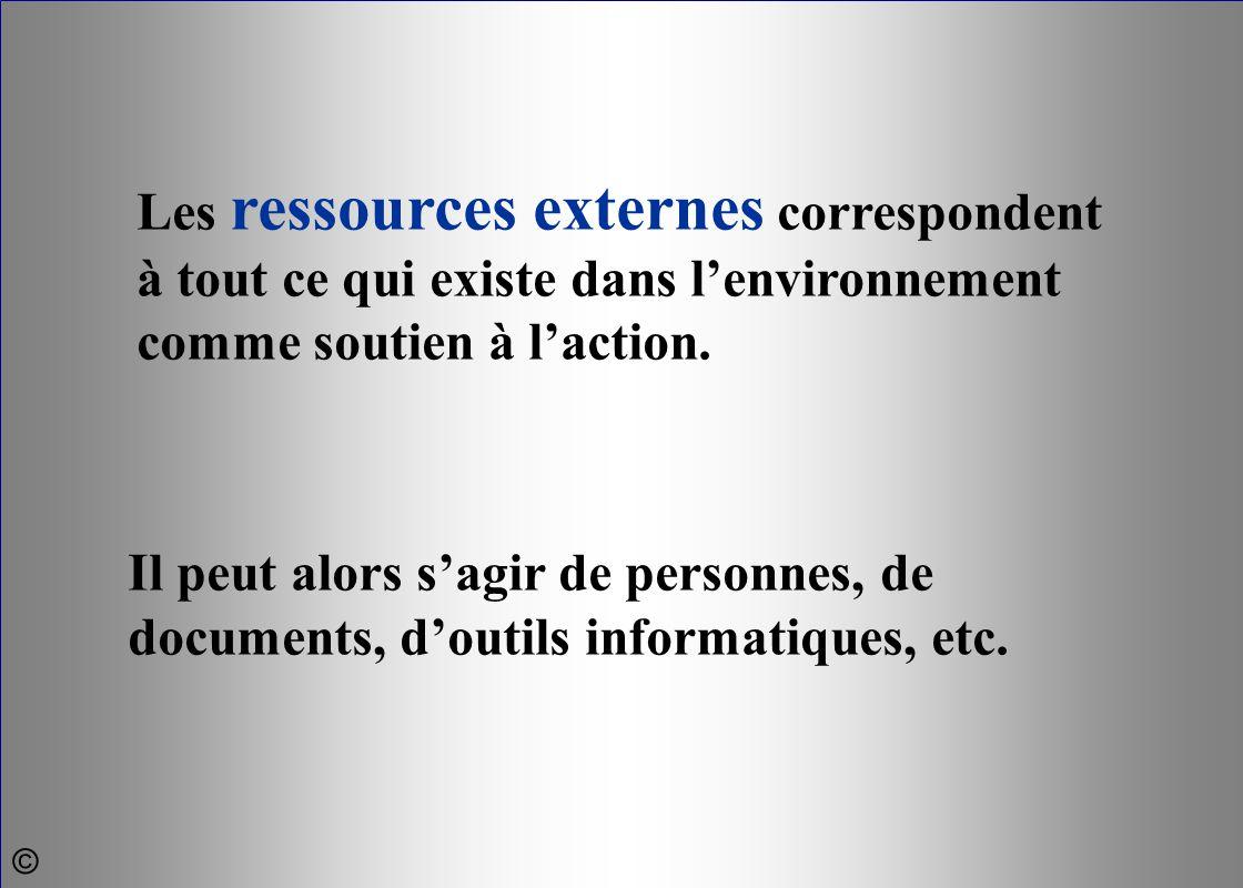 Les ressources externes correspondent à tout ce qui existe dans l'environnement comme soutien à l'action. Il peut alors s'agir de personnes, de docume