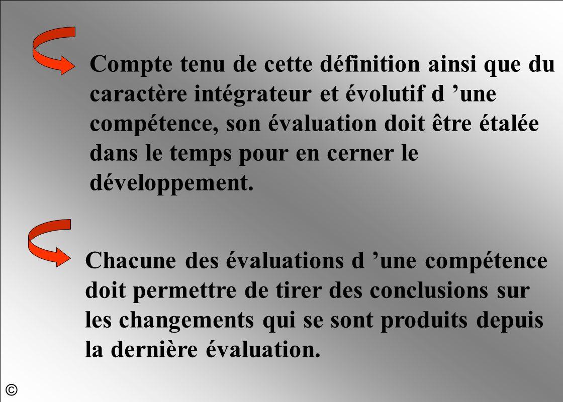 Compte tenu de cette définition ainsi que du caractère intégrateur et évolutif d 'une compétence, son évaluation doit être étalée dans le temps pour e