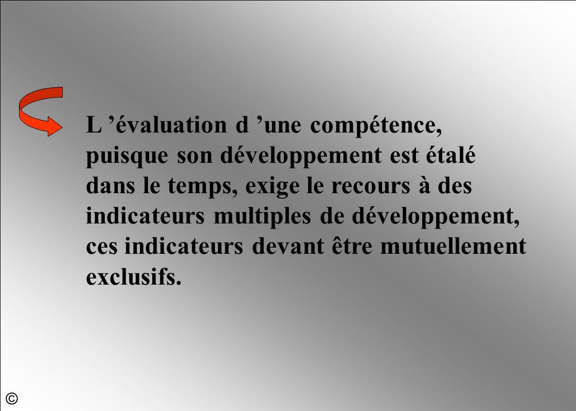 L 'évaluation d 'une compétence, puisque son développement est étalé dans le temps, exige le recours à des indicateurs multiples de développement, ces
