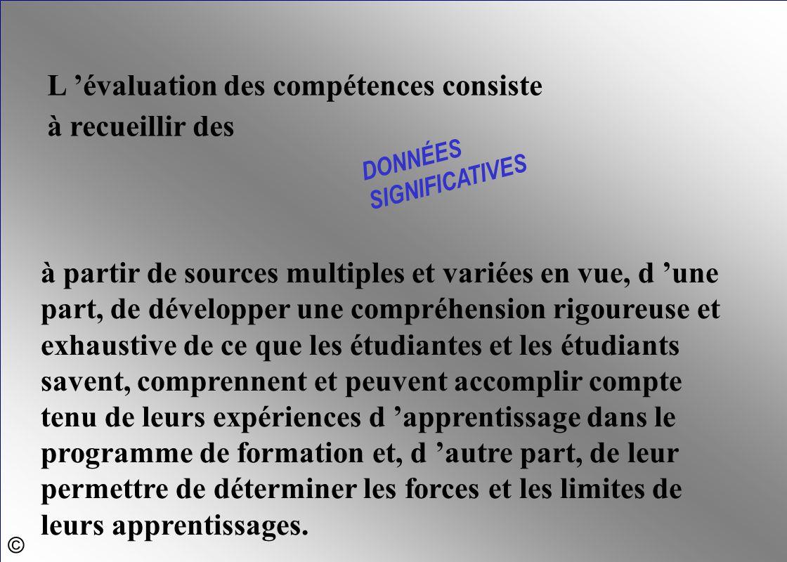 L 'évaluation des compétences consiste à recueillir des DONNÉES SIGNIFICATIVES à partir de sources multiples et variées en vue, d 'une part, de dévelo