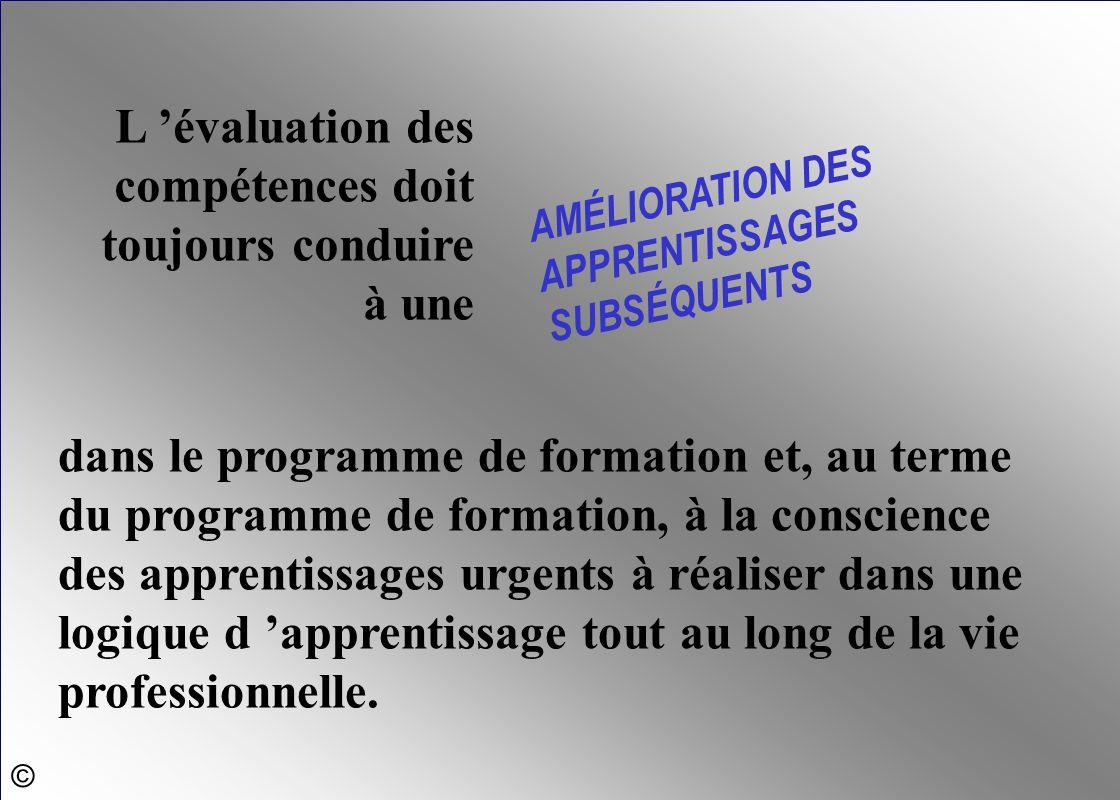 L 'évaluation des compétences doit toujours conduire à une AMÉLIORATION DES APPRENTISSAGES SUBSÉQUENTS dans le programme de formation et, au terme du