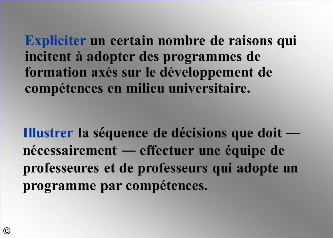 Expliciter un certain nombre de raisons qui incitent à adopter des programmes de formation axés sur le développement de compétences en milieu universi